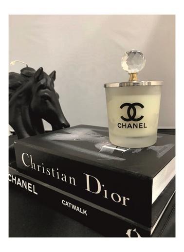Lyn Home & Decor Chanel Beyaz Bardak Mum Tepelikli Beyaz